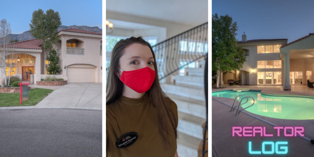 "From the left: exterior shot of luxury mediterranean style home, selfie shot of real estate agent Elizabeth Benedict wearing a red mask, and exterior backyard shot of pool illuminated at night with text in bottom right corner that says ""REALTOR LOG"""