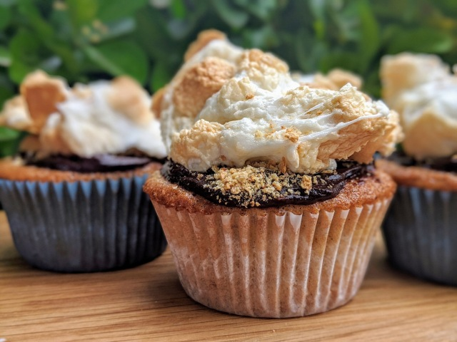 S'more cupcakes lined up with bright green foliage behind them. Fluffly marshmallow topping, chocolate ganache and fill, and warm vanilla graham cupcake