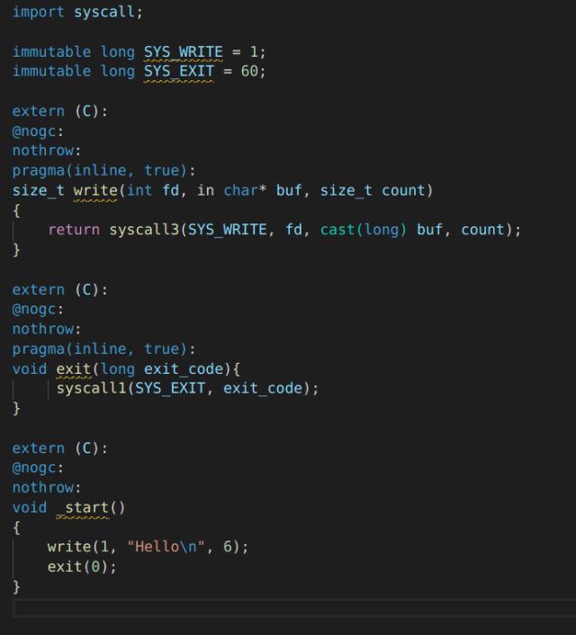 A screenshot of the optimized hello world code.