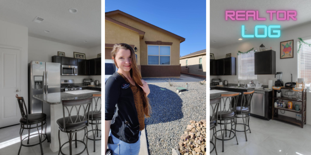 From left a view of the modern kitchen with dark cabinets and granite counters and an image of Elizabeth Benedict, associate broker at ERA Sellers and Buyers standing in front of the newer home in Enchanted Hills Rio Rancho New Mexico