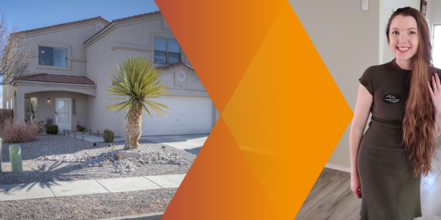 To the left, an exterior shot of a Rio Rancho Mediterranean style home that listed and sold in a weekend. To the right, Albuquerque Real Estate Agent Elizabeth Benedict posing inside. Header image is framed with bright orange colors in the middle